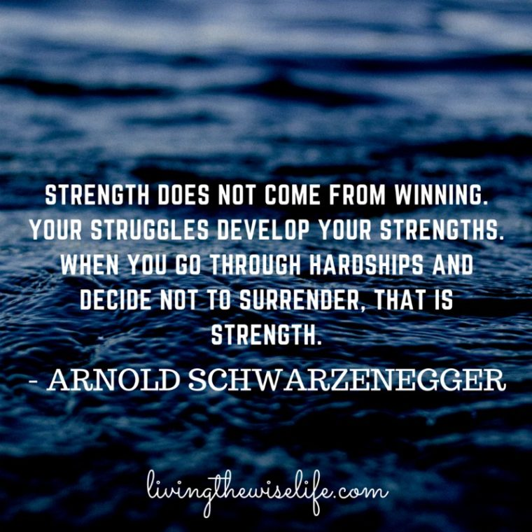 Strength does not come from winning your struggles develop your strengths when you go through hardships and decide not to surrender that is strength. - Arnold Schwarzenegger