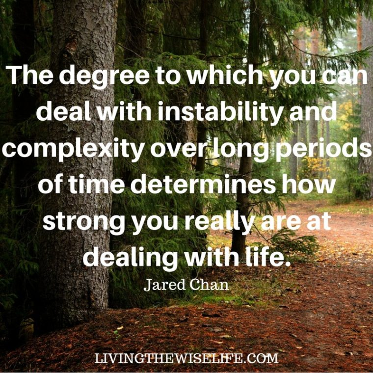 The degree to which you can deal with instability and complexity over long periods of time determines how strong you really are at dealing with life. -Jared Chan.