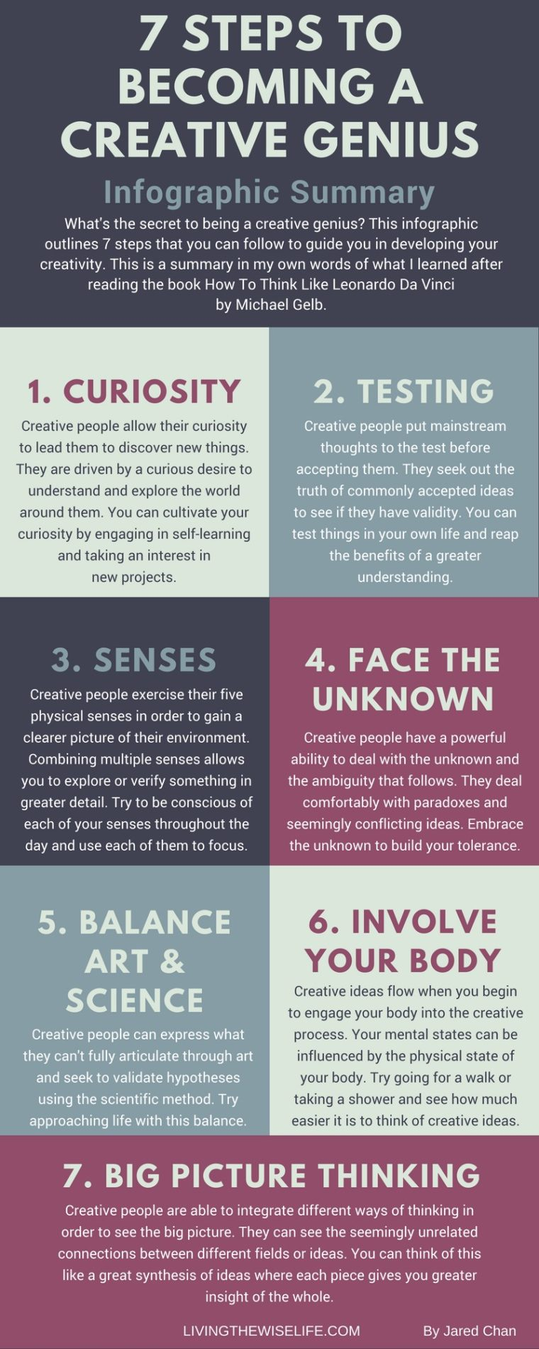 7 Steps To Become A Creative Genius - Infographic