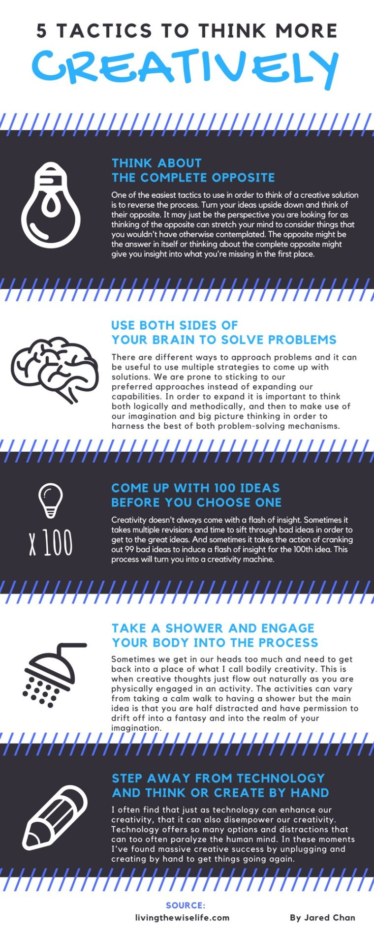 5 Tactics To Think More Creatively - Infographic